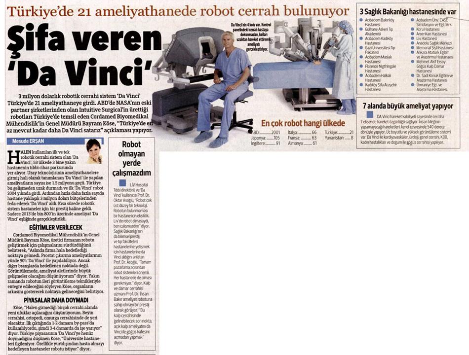 """Hürriyet Gazetesi - Şifa Veren """"da-Vinci"""""""