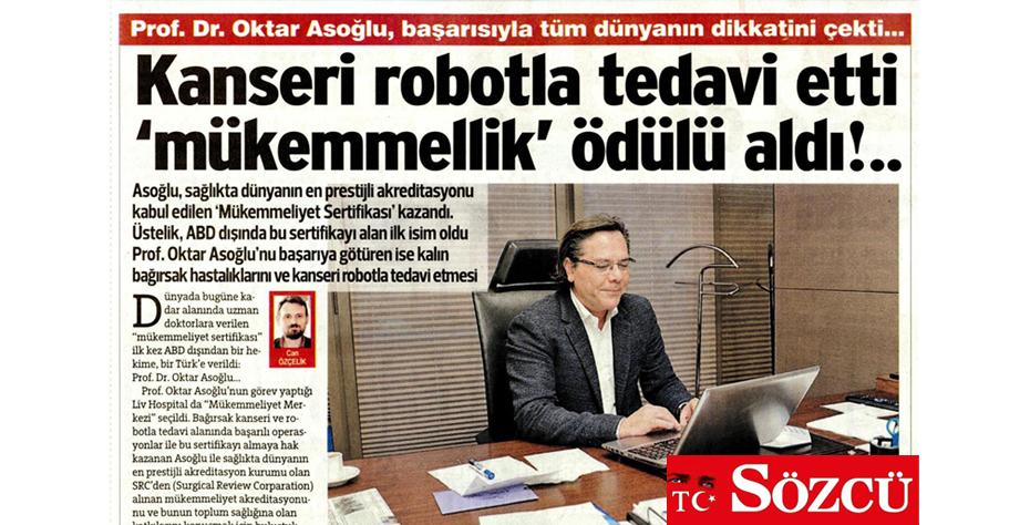 Sözcü Gazetesi - Kanseri Robotla Tedavi Etti 'Mükemmellik' Ödülü Aldı!