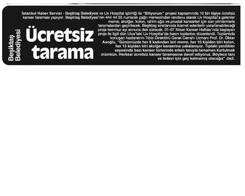 Beşiktaş Belediyesi Ücretsiz Tarama