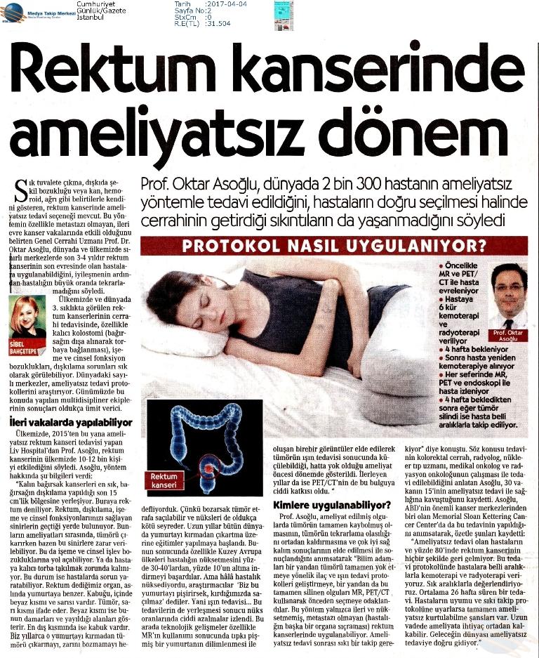 Cumhuriyet Gazetesi - Rektum Kanserinde Ameliyatsız Dönem