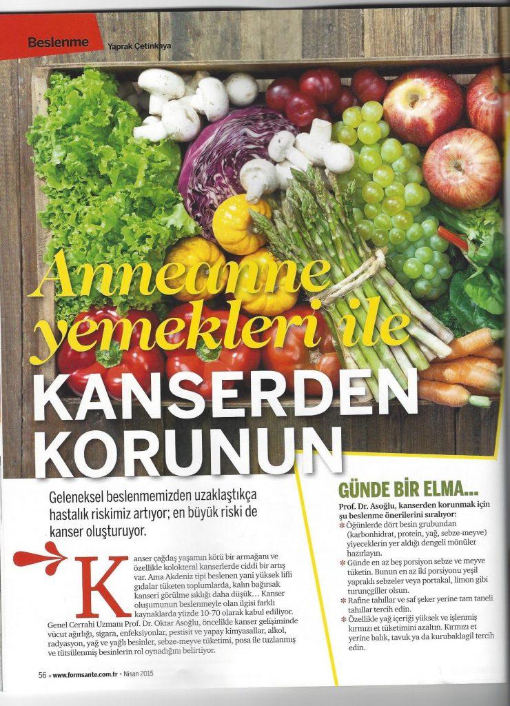 From Sante Dergisi - Anneanne Yemekleri ile Kanserden Korunun