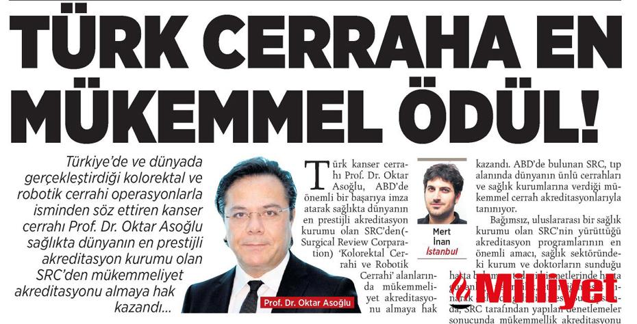 Milliyet Gazetesi - Türk Cerraha En Mükemmel Ödül!