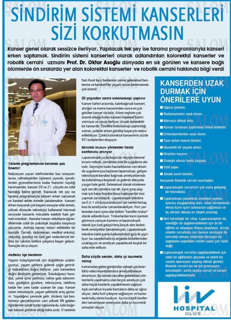 Şalom Gazetesi - Sindirim Sistemi Kanserleri Sizi Korkutmasın.